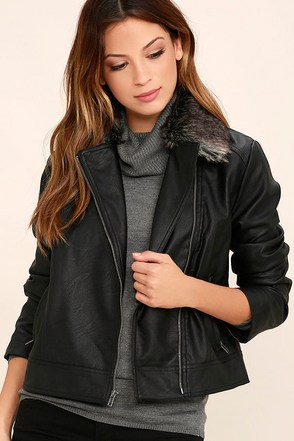 Jack by BB Dakota Leonce Black Vegan Leather Jacket at Lulus.com!