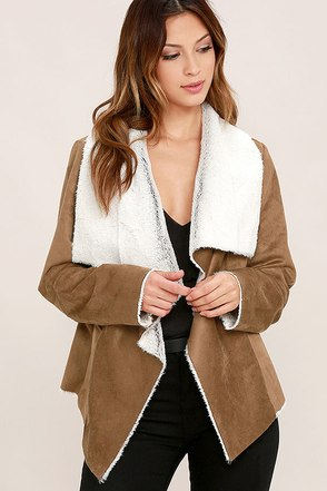 BB Dakota Bourne Brown Sherpa Coat at Lulus.com!