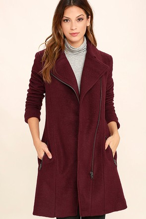 BB Dakota Forsyth Burgundy Coat at Lulus.com!