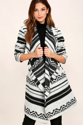 Jack by BB Dakota Basin Black and White Print Coat at Lulus.com!