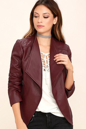 Jack by BB Dakota Fernando Burgundy Vegan Leather Moto Jacket at Lulus.com!