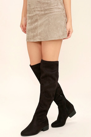 Robyn Black Suede Over the Knee Boots at Lulus.com!