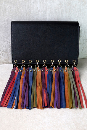 Colors of the Wind Black Fringe Clutch at Lulus.com!