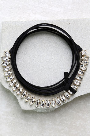 Speechless Black Rhinestone Wrap Necklace at Lulus.com!