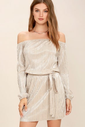 Glisten Closely Beige and Silver Off-the-Shoulder Dress at Lulus.com!