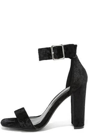 Akila Wine Velvet Ankle Strap Heels at Lulus.com!