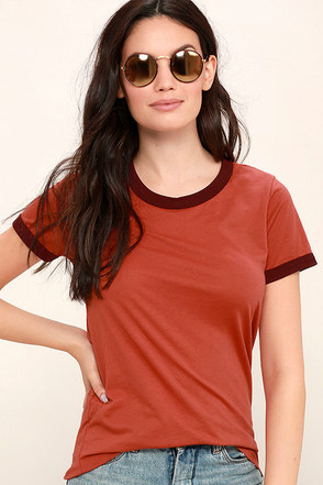 Obey Sold Out Burgundy and Rust Orange Tee at Lulus.com!
