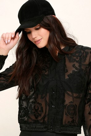Obey Amanda Sheer Black Long Sleeve Top at Lulus.com!