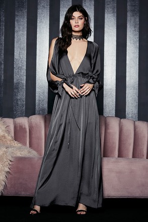 Owning It Charcoal Grey Satin Maxi Dress at Lulus.com!