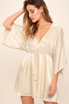 These Words Light Beige Satin Dress at Lulus.com!