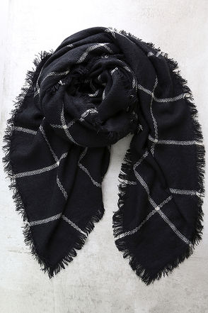Put Your Arms Around Me Black Grid Print Scarf at Lulus.com!