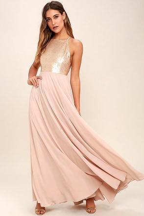 Lovely Gold Dress Sequin Dress Maxi Dress 89 00