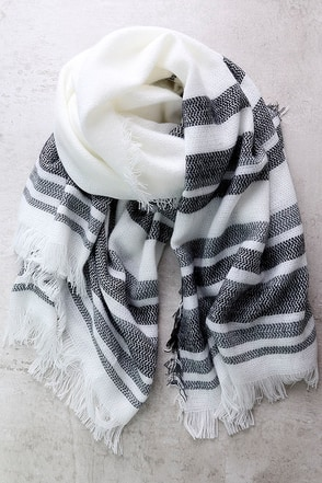 Soulmate Black Striped Scarf at Lulus.com!