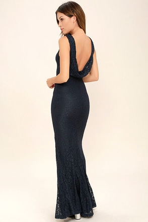 Magic in the Air Navy Blue Lace Maxi Dress at Lulus.com!
