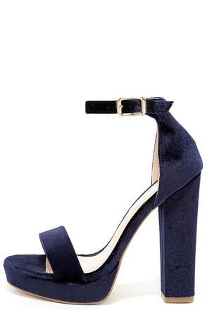 Demi Blue Velvet Platform Heels at Lulus.com!