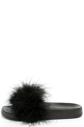 Jordyn Black Feather Slide Sandals at Lulus.com!