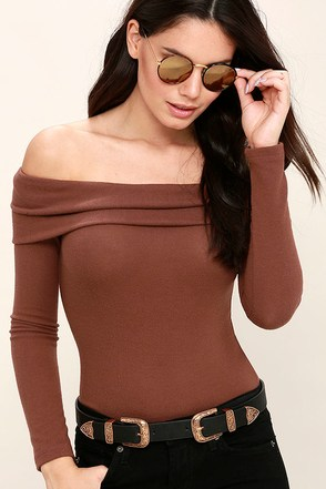 Sure and Certain Marsala Off-the-Shoulder Sweater Top at Lulus.com!