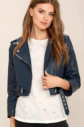 Serendipitous Navy Blue Vegan Leather Moto Jacket at Lulus.com!