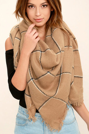Put Your Arms Around Me Brown Grid Print Scarf at Lulus.com!