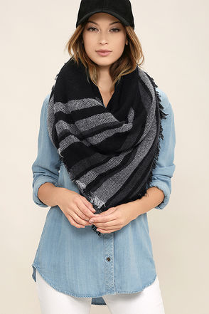 Soulmate White Striped Scarf at Lulus.com!