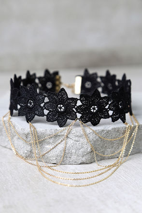 Moonlight Kiss Black and Silver Layered Choker Necklace at Lulus.com!
