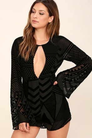 Shape and Form Black Velvet Romper at Lulus.com!