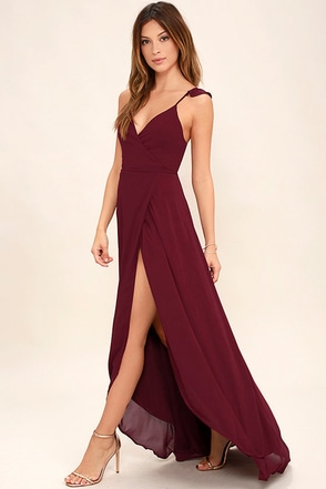 Here's to Us Burgundy High-Low Wrap Dress at Lulus.com!
