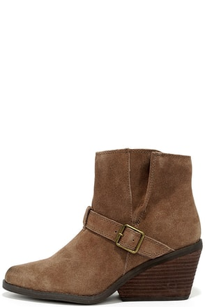 Very Volatile Melina Light Brown Suede Leather Wedge Booties at Lulus.com!