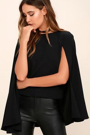 Embrace the Night Black Cape Top at Lulus.com!