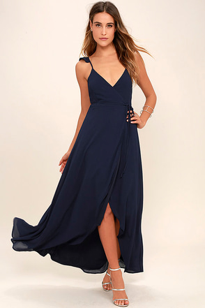 Here's to Us Navy Blue High-Low Wrap Dress at Lulus.com!