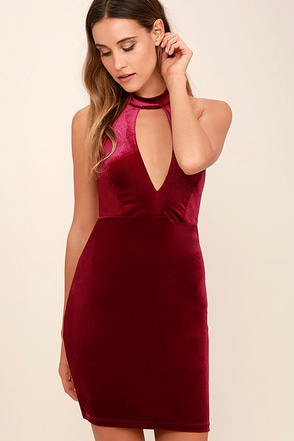 Hungry For Love Burgundy Velvet Bodycon Dress at Lulus.com!