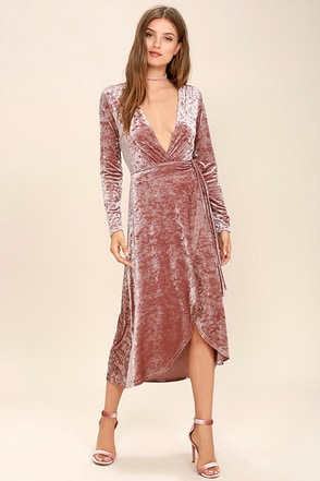 Enchant Me Blush Velvet Midi Wrap Dress at Lulus.com!