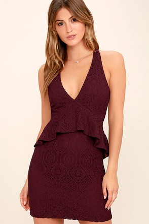 Who's That Girl Burgundy Lace Peplum Dress at Lulus.com!
