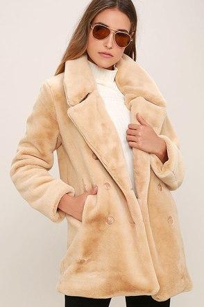 Fabulous Feeling Beige Faux Fur Coat at Lulus.com!