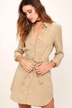 Unwritten Beige Shirt Dress at Lulus.com!