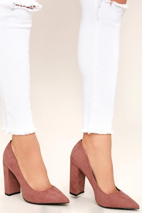 Chyna Mauve Suede Pointed Pumps at Lulus.com!
