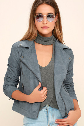 Catch You on the Flip Side Slate Blue Suede Moto Jacket at Lulus.com!