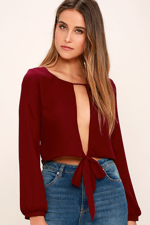 Hanging by a Moment Wine Red Long Sleeve Crop Top at Lulus.com!
