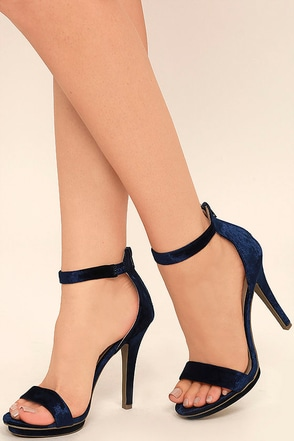 Samantha Navy Velvet Platform High Heel Sandals at Lulus.com!