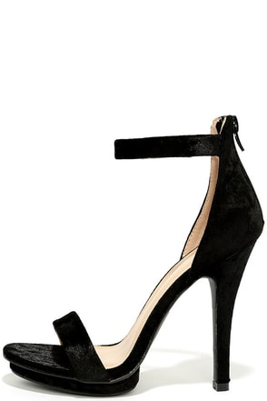 Samantha Black Velvet Platform High Heel Sandals at Lulus.com!