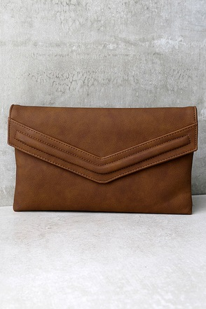 Good Mail Day Brown Clutch at Lulus.com!