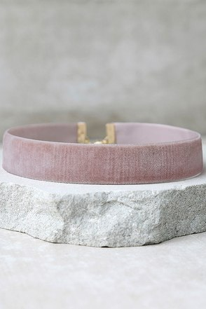 One Moment in Time Blush Pink Velvet Choker Necklace at Lulus.com!