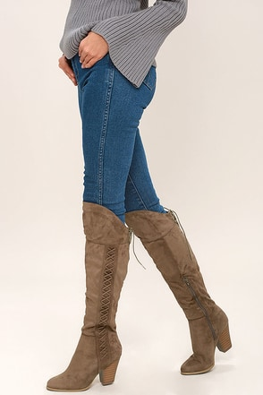 Margaery Taupe Suede Knee High Boots at Lulus.com!