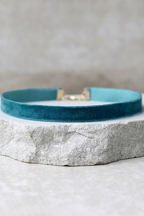 Love Me Forever Teal Blue Velvet Choker Necklace at Lulus.com!