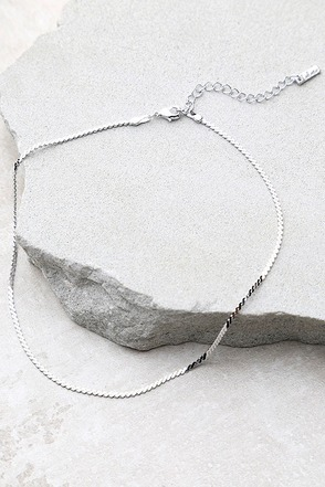 Go Ahead Now Silver Chain Choker Necklace at Lulus.com!