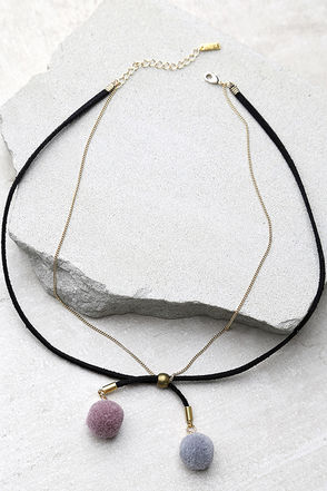 Cheer for You Black and Gold Necklace at Lulus.com!