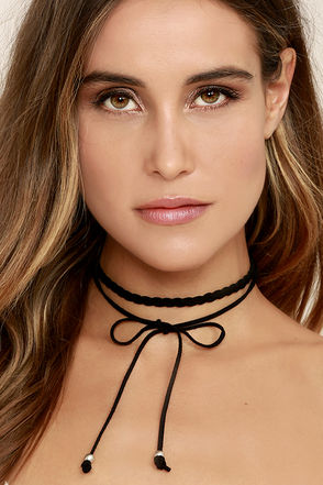 Everyday is a Winding Road Black Suede Layered Choker Necklace 1