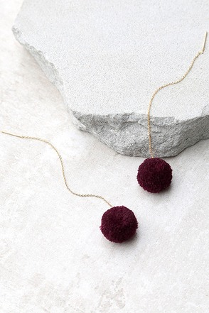 Beautiful Stranger Gold and Grey Pompom Threader Earrings at Lulus.com!