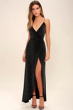 Celestial Black and Silver Wrap Maxi Dress at Lulus.com!