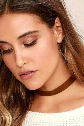 Vanessa Mooney Adeline Brown Leather Choker Necklace 1